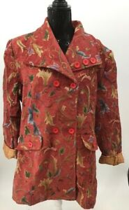 April Cornell Womens Byzantine Jacket Coat Multicolor Red Floral Pockets XL New