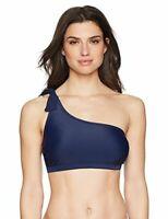 Coastal Blue Women's Swimwear Knotted One Shoulder Bikini Top Floral Size S 4/6