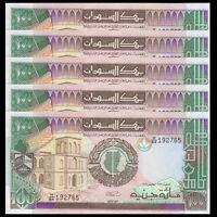 P-44,banknotes SD SUDN 100 Pounds UNC 1989 Lot 5 PCS