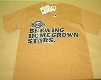 New NWT Milwaukee Brewers MLB T Shirt S small beige majestic cotton