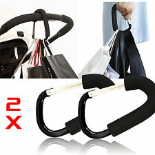 2 x Pushchair Hook Clip Large Buggy Pram Shopping Bag Strong Mummy Carry