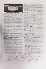 Original Roland SR-JV80-10 Bass & Drum Manual Install Instructions & Patch List