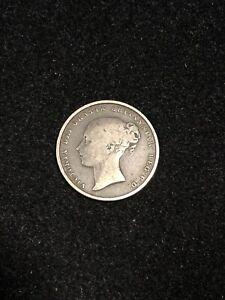 1854 British Shilling, Rare Key Date, In About Fine Condition
