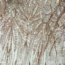 Sequins Mesh Embroidery Fabric Tulle Voile Wedding Prom Dress Clothes Shiny DIY