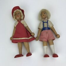 Vintage Wooden Poland Polish Wood Peg Dolls Boy & Girl