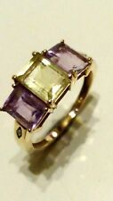 SUFFRAGETTE 9ct 375 Yellow Gold PERIDOT/AMETHYST/DIAMOND Ring.Size O in Gift Box