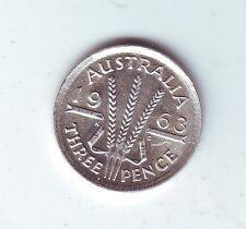 1963 Australia  Silver Threepence Coin  )-244