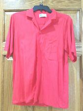 Vtg Islander Bright Red Button Down Short Sleeve Rayon Shirt Sz M