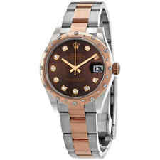 Rolex Datejust 31 Chocolate Diamond Dial Automatic Ladies Steel and 18kt Rose