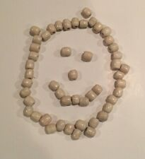 Lot of 50 Vintage Large White Wood Barrel Macrame Craft Wooden Beads