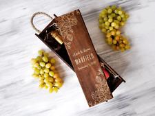 Custom Wine Box, Gift for Couple, Personalized Wine Box, Wedding Wine Gift Box