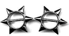 Body AccentzTM Nipple Ring Bars Spike Body Jewelry Pair 14 gauge HO913