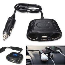 12V 2 Way Car Cigarette Lighter Power Socket Charger Adapter 2 USB Port Charger