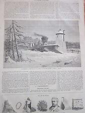 Gravure 1864 - La charrue à neige sur le chemin de fer de Québec ( Canada )