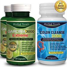 180 PILLS Garcinia Cambogia 5000mg 95% HCA Colon Detox Slimming Weight Loss Diet