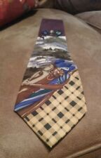 Nautica tie golf novelty  map championship print plum,gold,navy New Xmas in July