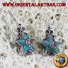 orecchini Nepalesi d'argento stella di turchese e corallo tondo