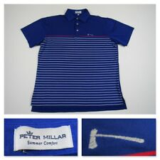 Peter Millar Summer Comfort Mens Medium Blue Striped Performance Polo Shirt New