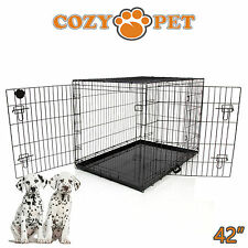 Dog Cage 42 inch Puppy Crate XL Cozy Pet Black Dog Crates Folding Metal Cages