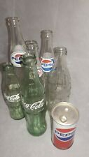 Lot of 6 Soda Bottles: Coca Cola, Pepsi + 1 Canadian Pepsi  Can