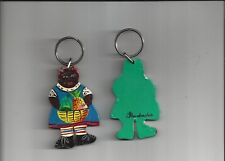 MADE IN BARBADOS * WOODEN KEY CHAIN HAND PAINTED 3 inches BAJAN WOMAN ORNAMENT