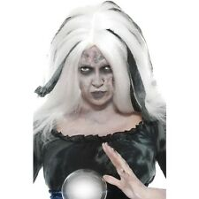 Womens Adults Soothsayer Wig Halloween White Grey Fortune Teller Accessory Scary