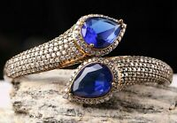 Turkish Handmade Jewelry Sterling Silver 925 Sapphire Blue Bracelet Bangle Cuff