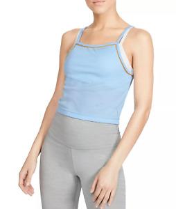 Nike Dri-Fit Yoga Tank Top Sz M Blue Ribbed Fitness Training