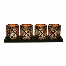 Tealight Holder On Tray Set of 4 38x10cm