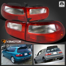 For 92-95 Honda Civic Hatchback 3Dr Brake Lamps Red/ Clear Tail Lights