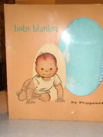 Vintage PEPPERELL Baby Blanket 36 x 50 Turquoise Original Box
