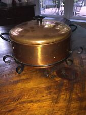 Coppercraft Guild Copper Pot Pan Lid -Tin Lined Black Iron Handles & Stand!