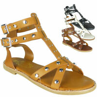 Ladies Flat Studded Buckle Summer Beach Shoes Womens Ankle Strappy Sandals SIze