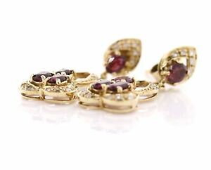 14K Gold Oval Ruby and Diamond Dangle Drop Earrings