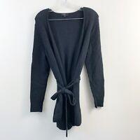 J. Crew Black Knit Merino Wool Alpaca Wrap Cardigan Sweater Size Small