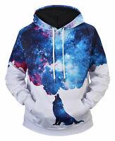 Men Women 3D Galaxy Wolf Printing Pullover Hoodie Sweatshirt Drawstring UK
