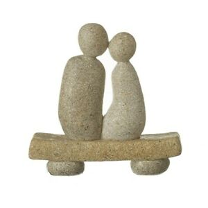 Ornament gift home Stone Couple on a bench love valentines sculpture figurine