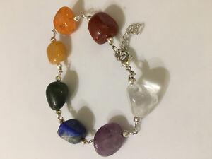 natural tumbled multi gemstone adjustable link bracelet