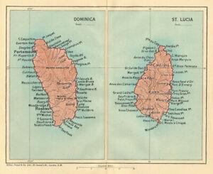 DOMINICA & ST LUCIA. Vintage map. West Indies Caribbean 1935 old vintage