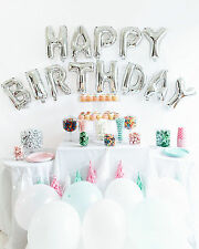 Happy Birthday Alphabet Letters Shiny Sliver foil Balloons Party Decor Supplies