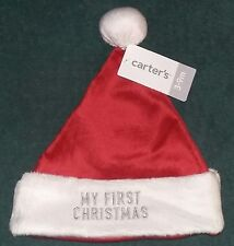 "NEW Carter's 3-6-9 Months Baby ""MY FIRST CHRISTMAS"" Santa Cap (Hat)~NWT"
