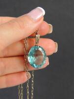 Vintage USSR Soviet Gilt Sterling Silver 875 Stone Topaz Women Pendant Necklace