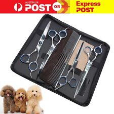 "Pet Dog Grooming Scissors Shear Hair Cutting Set Curved Tool 7"" Professional Kit"