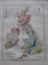 1897 VICTORIAN MAP ~ GEOLOGICAL BRITISH ISLES TRIASSIC COAL MEASURES CRETACEOUS