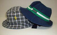 NWT $49 POLO RALPH LAUREN BUCKET HAT CAP Mens PONY REVERSIBLE S / M  Navy  New