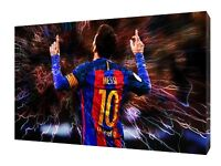 BARCELONA FOOTBALL LIONEL MESSI PICTURE PRINT ON FRAMED CANVAS WALL ART
