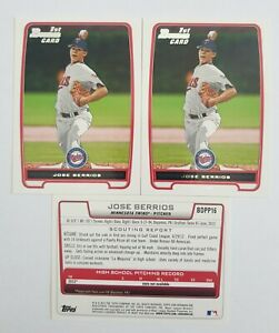 JOSE BERRIOS RC 2012 1st BOWMAN CARD BDPP16 DRAFT PICK LOT 3 ROOKIE BASEBALL