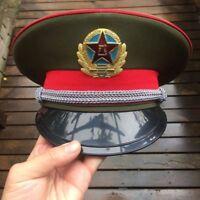 59CM Military Chinese Communist Land Army officer Captain's Visor Hat Cap&badge