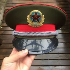 59CM Chinese Captain Visor Hat Communist Military Officer Uniform Cap US 7 3/8