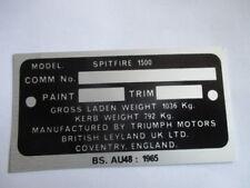 Panneau Type Id-Plaque Triumph Spitfire 1500 Panneau Lb Bl Britanique Leyland